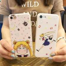 Cute Sailor Moon painted case with screen protector For iphone 7 7plus soft TPU case for iphone 6s/ 6splus protective case