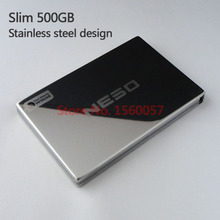 """Free shipping NESO Slim Mobile HDD 500G External Hard Drive Wholesale 2.5"""" Portable Hard Disk USB2.0 Stainless steel design"""