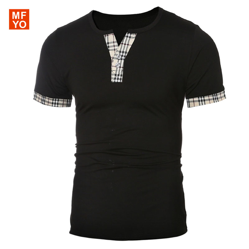 Wholesale 2016 summer men's t shirt cool Plaid stitching T ...