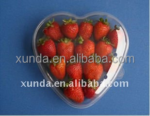 Hot sell heart shaped disposable plastic fruit packing box with clear lid