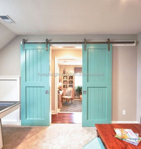 Light blue E brace sliding barn door for internal room