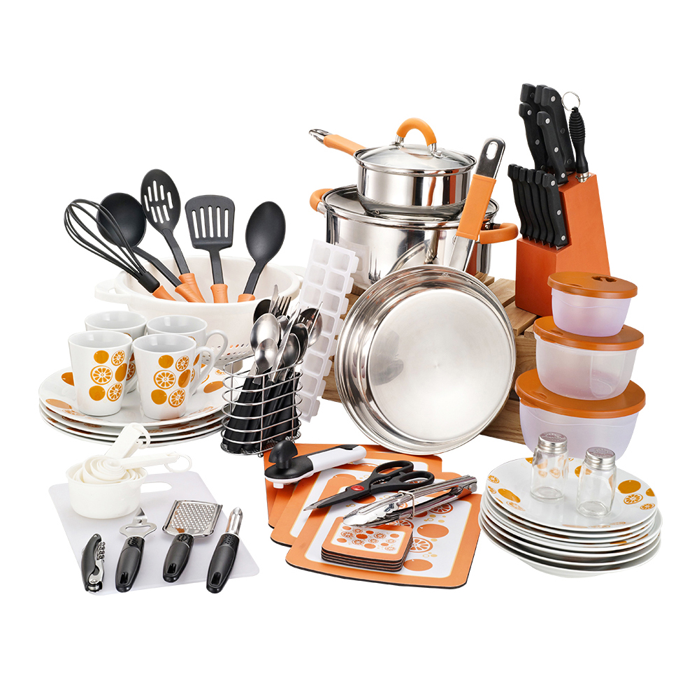 Non stick stainless steel cookware cooking pot and pan utensils set