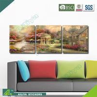 Home decor hotel wall art diy modern three panel waterproof fabric painting designs images