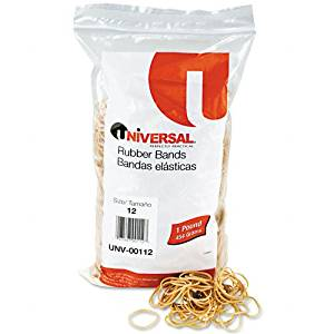 Universal : Rubber Bands, Size 12, 1/8 x 1-3/4, 2580 per 1lb Box -:- Sold as 2 Packs of - 2580 - / - Total of 5160 Each