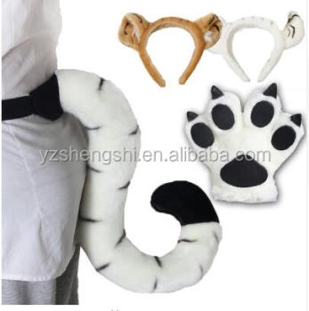 Tiger paw tail head band plush toy child cosplay costume/plush tiger tail for kids play game