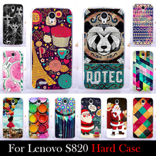 For LENOVO S820 Case Hard Plastic Mobile Phone Cover Case DIY Color Paitn Cellphone Bag Shell  Shipping Free