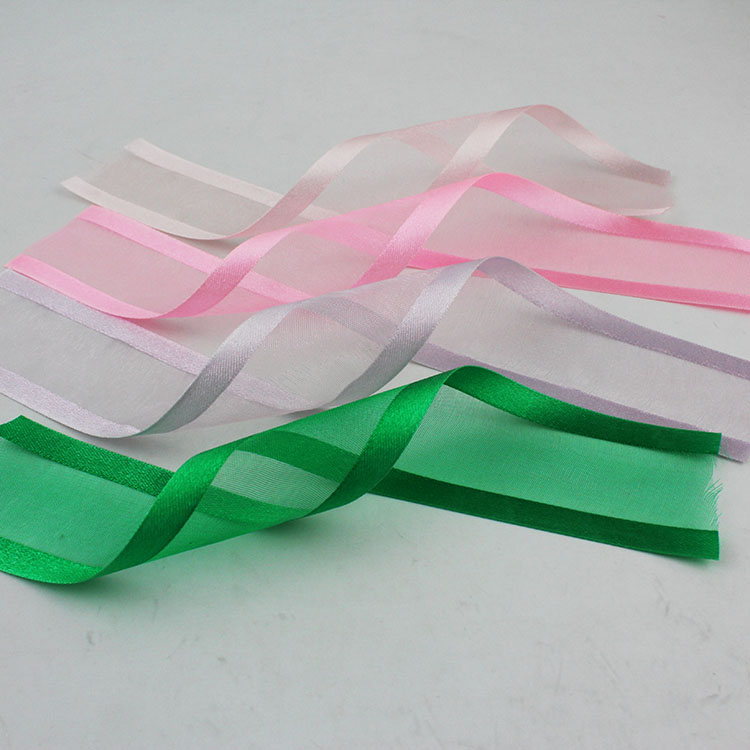 """5 Yds Yellow Green Chromatic Striped Sheer Wired Ribbon 2 1//2/""""W"""