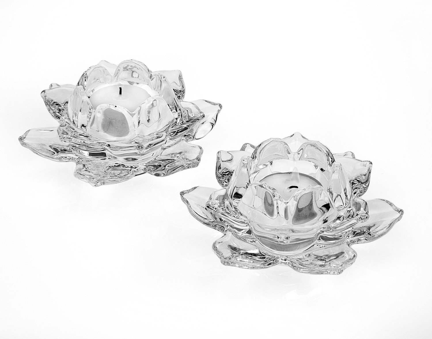 """Elegant Crystal 5"""" inch Votive Tealight Candle Holders, Set of 2, For Table, Buffet, Desk,Wedding, or Party,"""