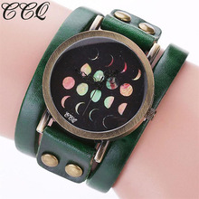 CCQ NEW Brand Relogio Feminino Woman Saat Moon Eclipse Pattern Leisure Casual Analog Quartz Bracelet Watches Womans Ladies Clock