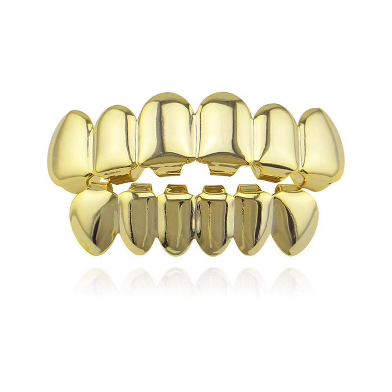 Hiphop Men's 6 Top & Bottom Teeth Gold Silver Color Teeth Grillz Set Dental Grills Body Jewelry
