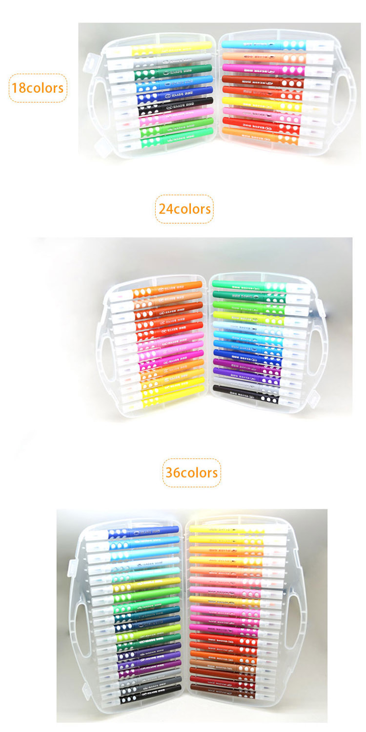 Premium quality fiber tip bright 36 pieces water color brush pen for kids