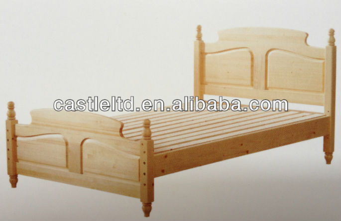 Solid pine wood turned post bed ,solid wood bed,wood bed,child wood bed