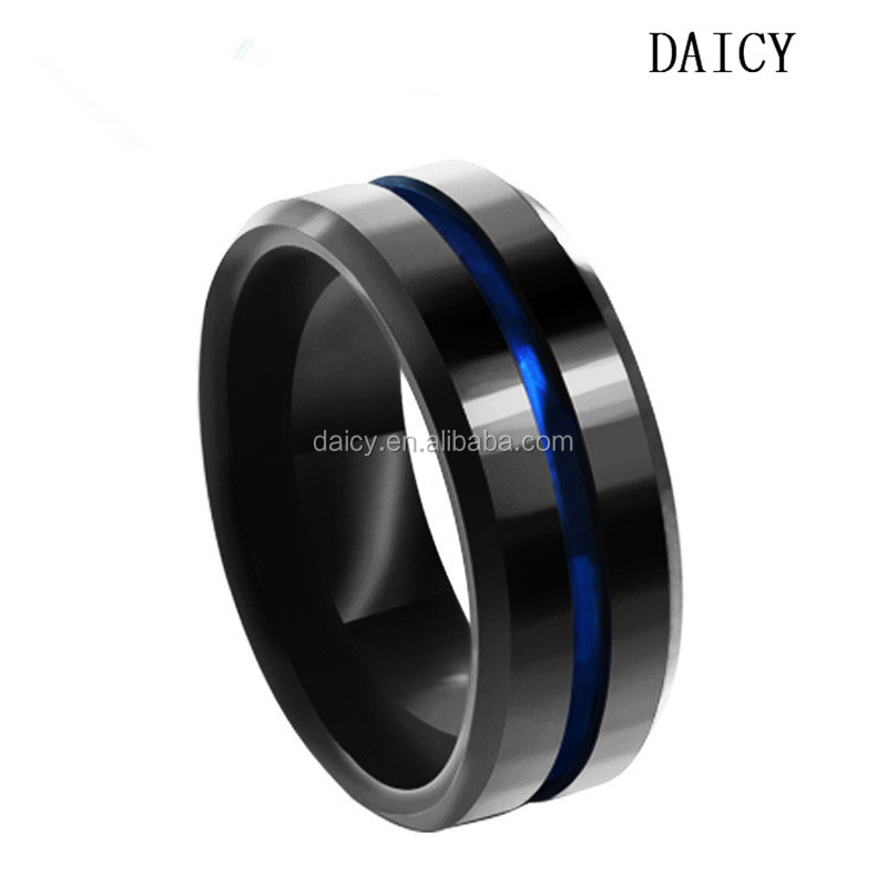 DAICY simple design top quality men's blue black band tungsten ring