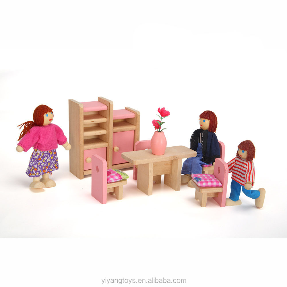 Kids kitchen set toy miniature small wooden toy living room house for kids girl toys hobbies kawaii doll furniture kitchen toy
