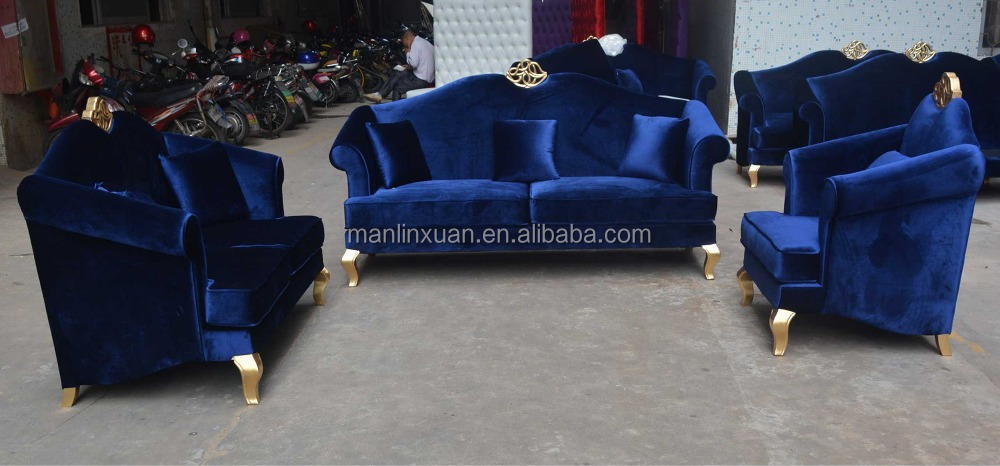 Product Name. Classical Royal Blue Velvet Living Room Sofa ...