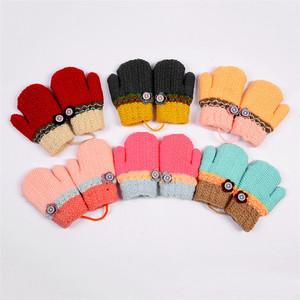 New Winter Kids Casual Cute Mittens Soft Knitted Thicken Gloves Children Full Finger Warmer Gloves