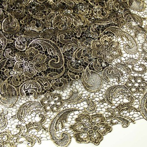 Polyester / Nylon Material and Embroidered Technics gold bridal lace trimB2660