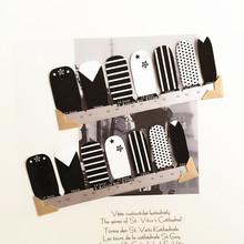 Black White Cute stars Nail Arts Nail Sticker Waterproof Nail Decal Sticker Gel Polish French Manicure