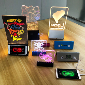 Led Light Table Menu Stand Power Bank Holder with Acrylic Billboard with Your Messages on it