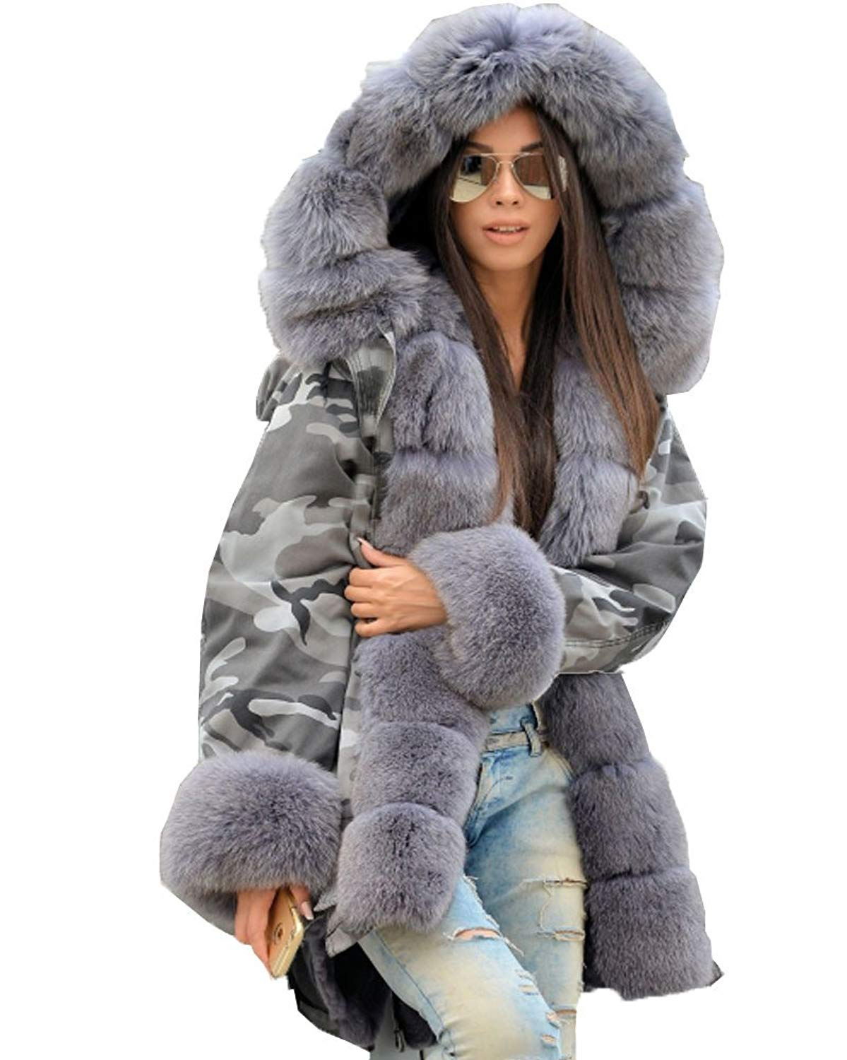 c42650aa2536eb Get Quotations · Aox Women's Winter Faux Fur Hood Warm Thicken Military  Camo Loose Parka Coat Jacket Plus Size