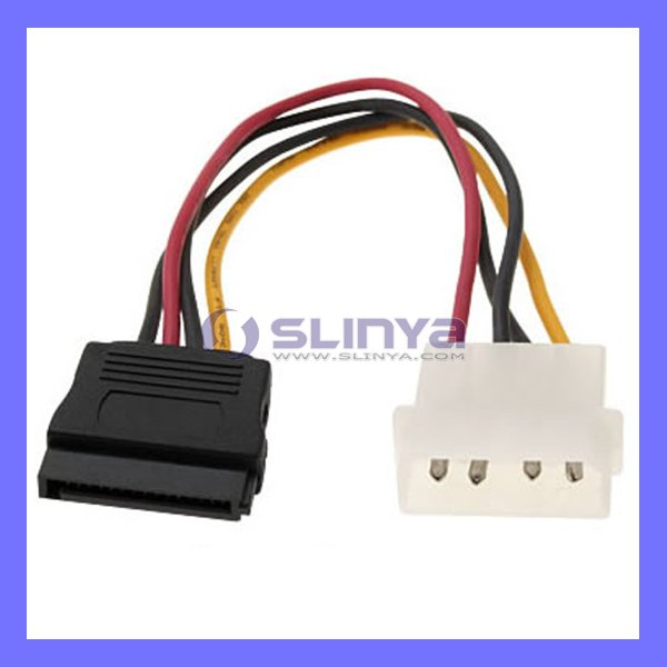4 Pin IDE to 15 Pin SATA HDD Power Adapter Cable