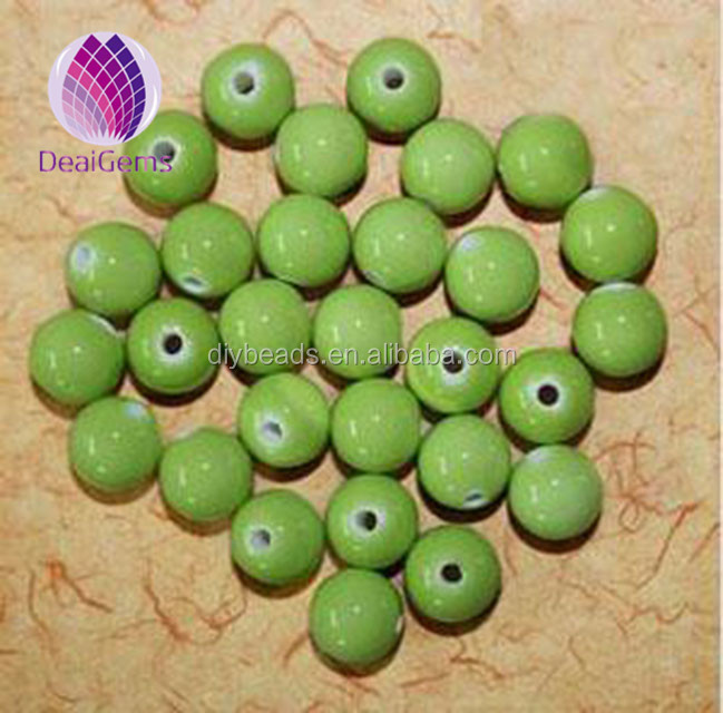 Bead porcelain green 10mm round