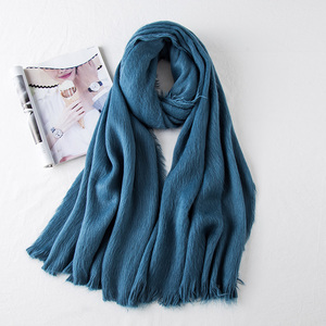 100% acrylic Thin Pleated Scarf Soft Touch Neck Hijab Modern Scarf