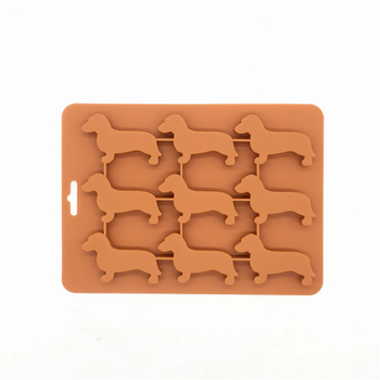FDA food grade BPA free paws and bone shape dachshund silicone dog cake mold ice cube tray