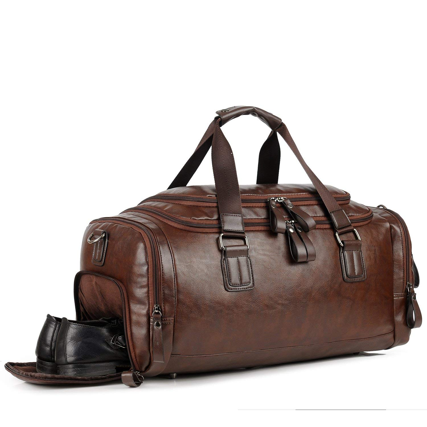 Get Quotations · Men Gym Bag Leather Travel Weekender Overnight Duffel Bag  Sports Luggage Tote For Men 5216247969