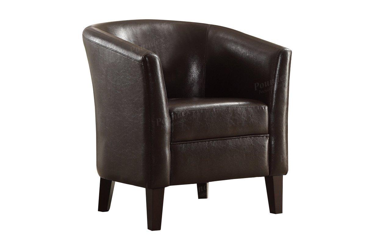 Poundex F1509 Bobkona Denzil Faux Leather Club Chair, Chocolate