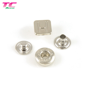 Oeko-Tex Custom Square Metal Button Silver Metal Snap Button For Jeans