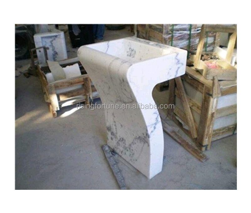 White marble pedestal bathroom sinks