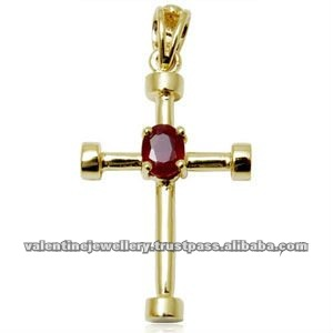 Cross pendant in 18k yellow gold with ruby centre stone for all aged cross pendant in 18k yellow gold with ruby centre stone for all aged peoples cheap aloadofball Gallery