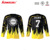 2017 New Sublimation polyester lycra custom your logo black and Yellow China Uniforms round collar long sleeves Hockey Jersey