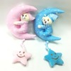 Two Colour lovely Bear Embracing Moon Plush Baby Toys,Lovely Plush music Teddy Bear with Moon Toy