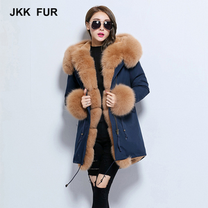 Thick Real Fox Fur Collar Parka Detachable Women Winter Jacket Hooded Parker Winter Coats