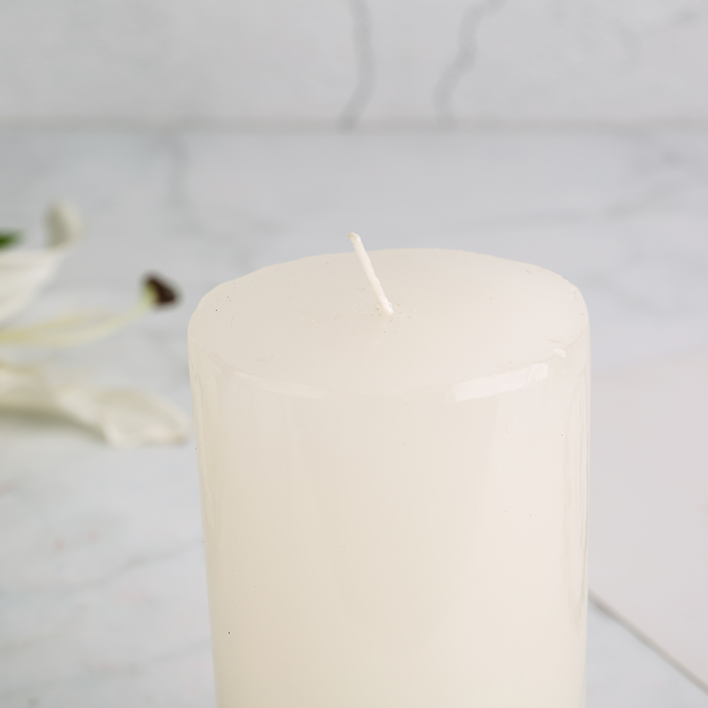 6 inch tall flat top white ivory church pillar candle