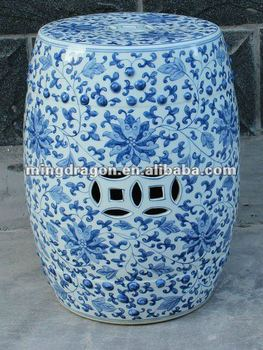 Chinese Antique White And Blue Garden Ceramic Stool Buy Chinese