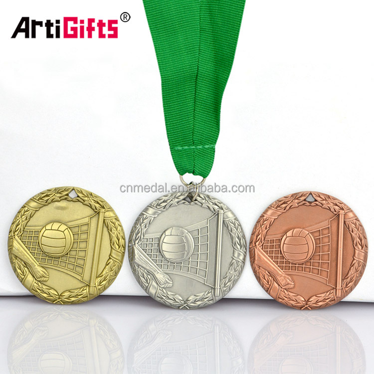Medallion Company Bronze Engraved Volleyball Medal Coin And Awards