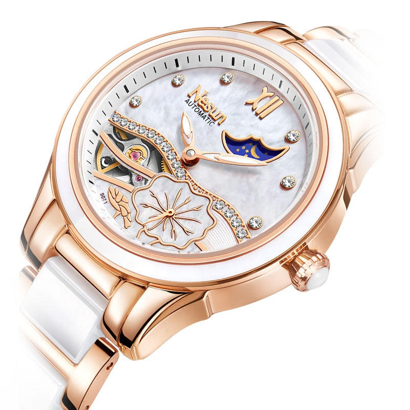 luxury Automatic Mechanical Skeleton Ceramic Stylish Rose Gold <strong>Watch</strong> <strong>for</strong> <strong>Women</strong> china <strong>watch</strong> manufacturer ladies <strong>watch</strong> <strong>women</strong>