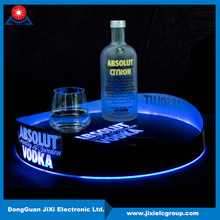 China supplier non slip round led serving tray for bar