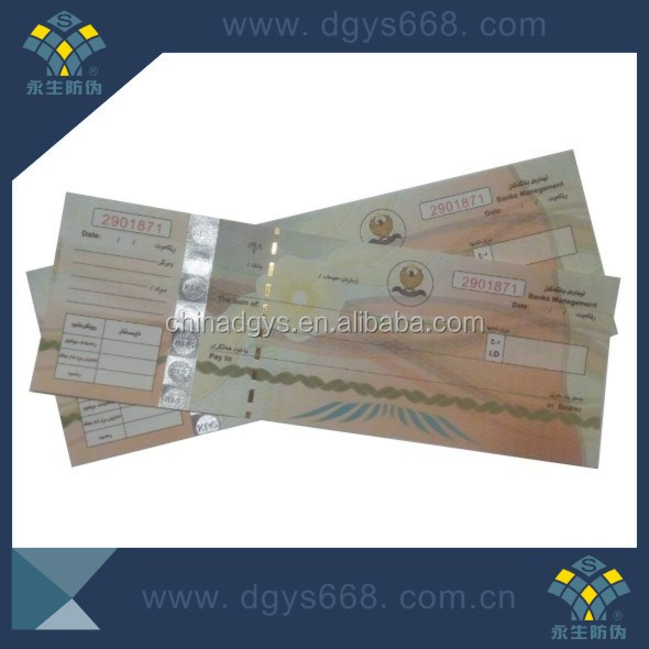 Security thread paper hot stamping hologram coupon bill