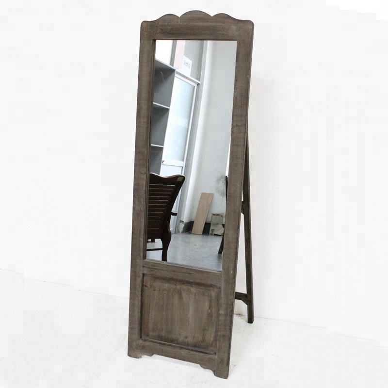 Antique Vintage Farhouse Rustic Wood Frame Standing Floor Mirror