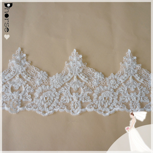 Bridal lace trim with handmade beads and pearls lace trim in lace for decorative DH-BF1684