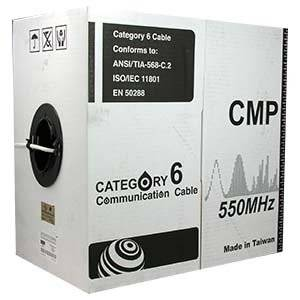 Arrowmounts AM-Cat6-Bulk-011WT 1000' Cat 6 Cat6 Solid Ethernet LAN Network Cable Plenum (CMP) White