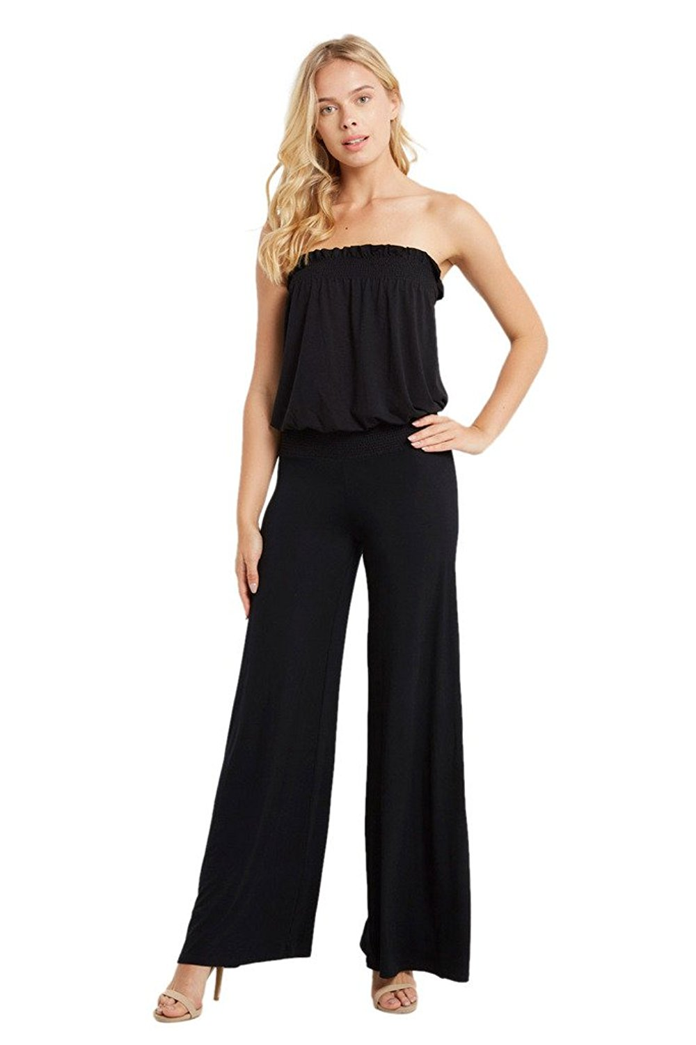 Get Quotations · Poshsquare Women s Smocked Tube Strapless Jersey Wide Leg  Pants Plus Jumpsuit Playsuit USA af53b4a90