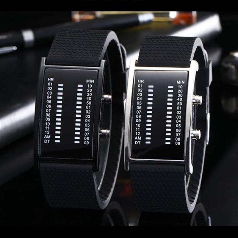 Tada Brand Fashion Watches Male Clock Unique Bridge Rectangle Shape Blue Light Digital Sports Silicone Binary Men Led Watch Hot фото