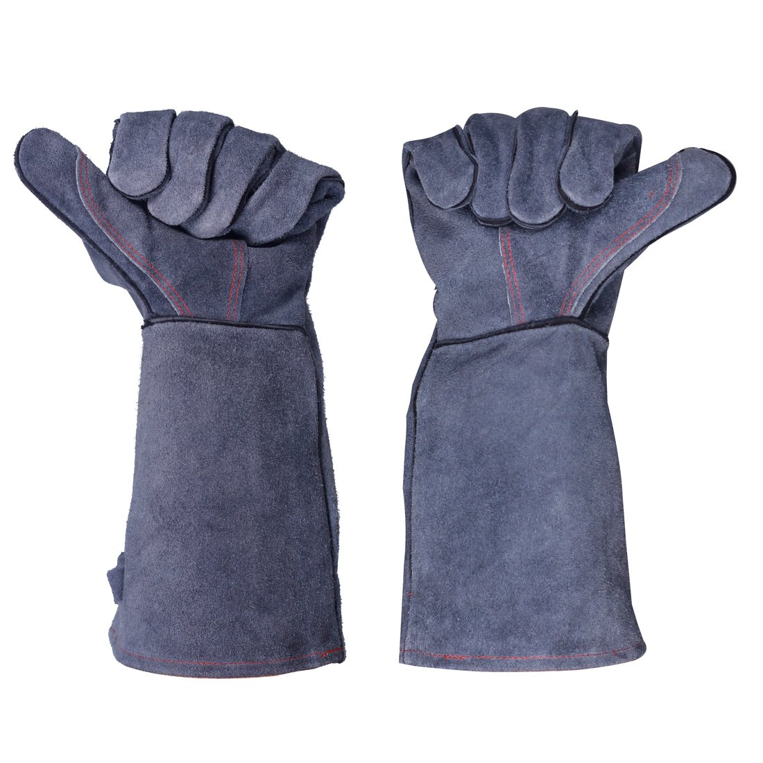 Dltsli Leather Oven Grill BBQ Gloves 662F(350C) Forge Welding Gloves Extreme Heat Resistant Cooking Baking Barbecue Fireplace Grilling Glove Mitts Unisex Long Welding Gloves Sleeves