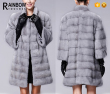 Women High quality Covered Button long Fur Coat with Silk Lining