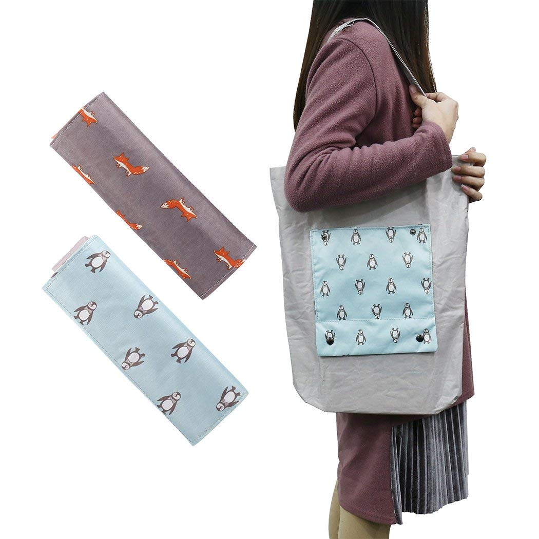 CamRom Folding Reusable Shopping Bags 2 PACK, Nylon Washable Durable Lightweight Tote Travel Recycle Grocery Bags Eco-Friendly Foldable bag for Shopping Travel Outdoor(Gray & Orange)